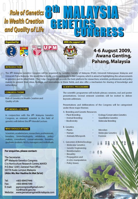 8th Malaysia Congress on Genetics : Role of Genetics in Wealth Creation and Quality of Life