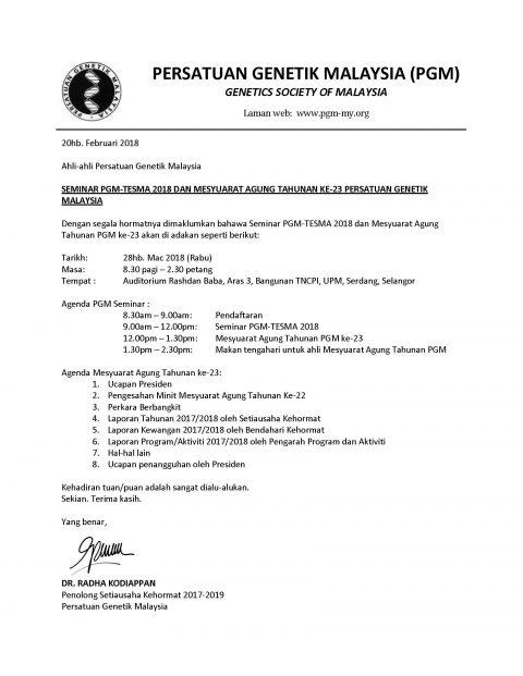 SEMINAR PGM-TESMA 2018 DAN MESYUARAT AGUNG TAHUNAN KE-23 PERSATUAN GENETIK MALAYSIA