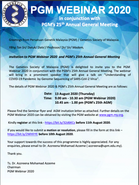 PGM Seminar 2020 & PGM's 25th Annual General Meeting