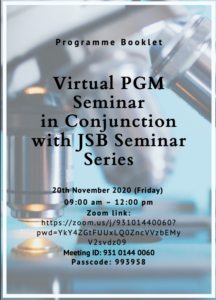 Book Cover: Virtual PGM Seminar in Conjunction with JSB Seminar Series Programme Book